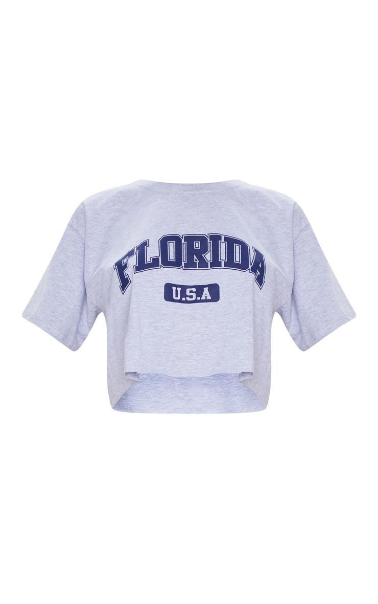 Grey Marl Florida USA Crop T Shirt 5