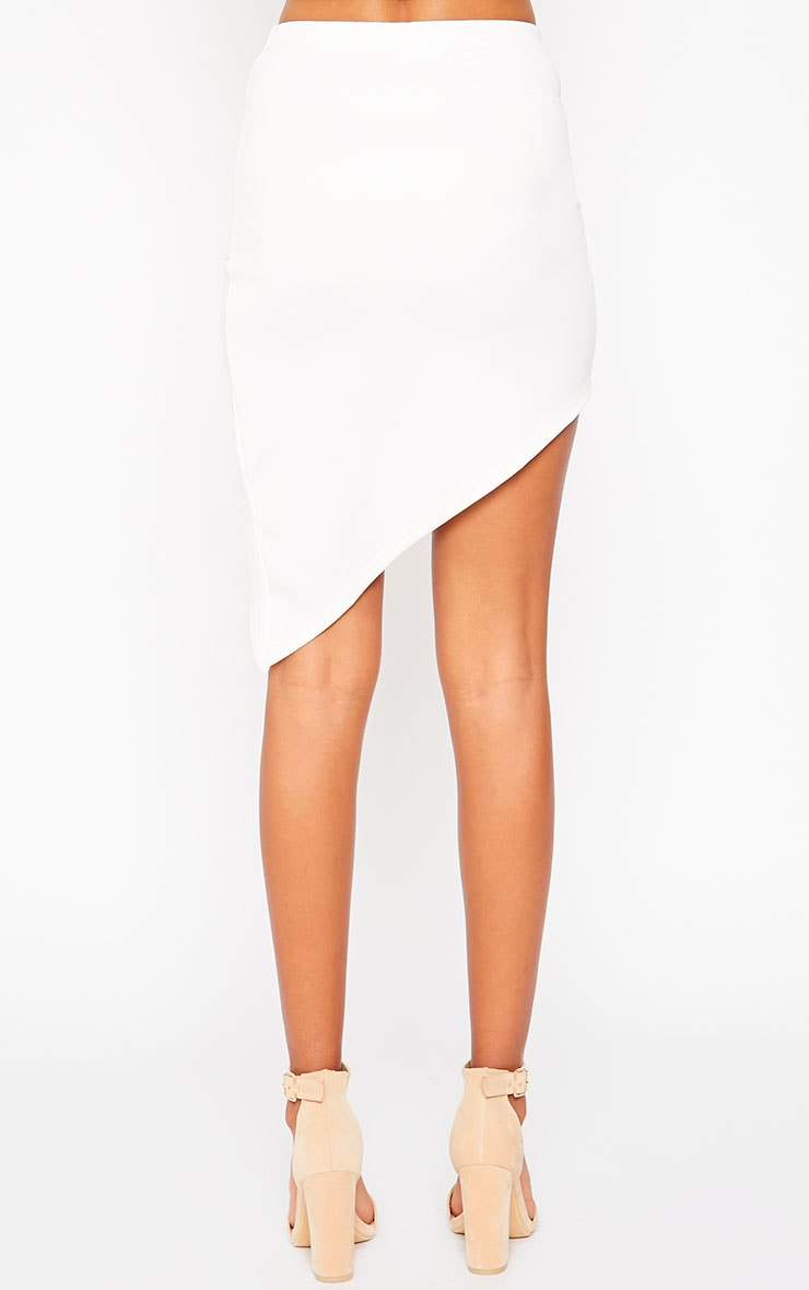 Tiff Cream Wrap Hem Scuba Skirt 4