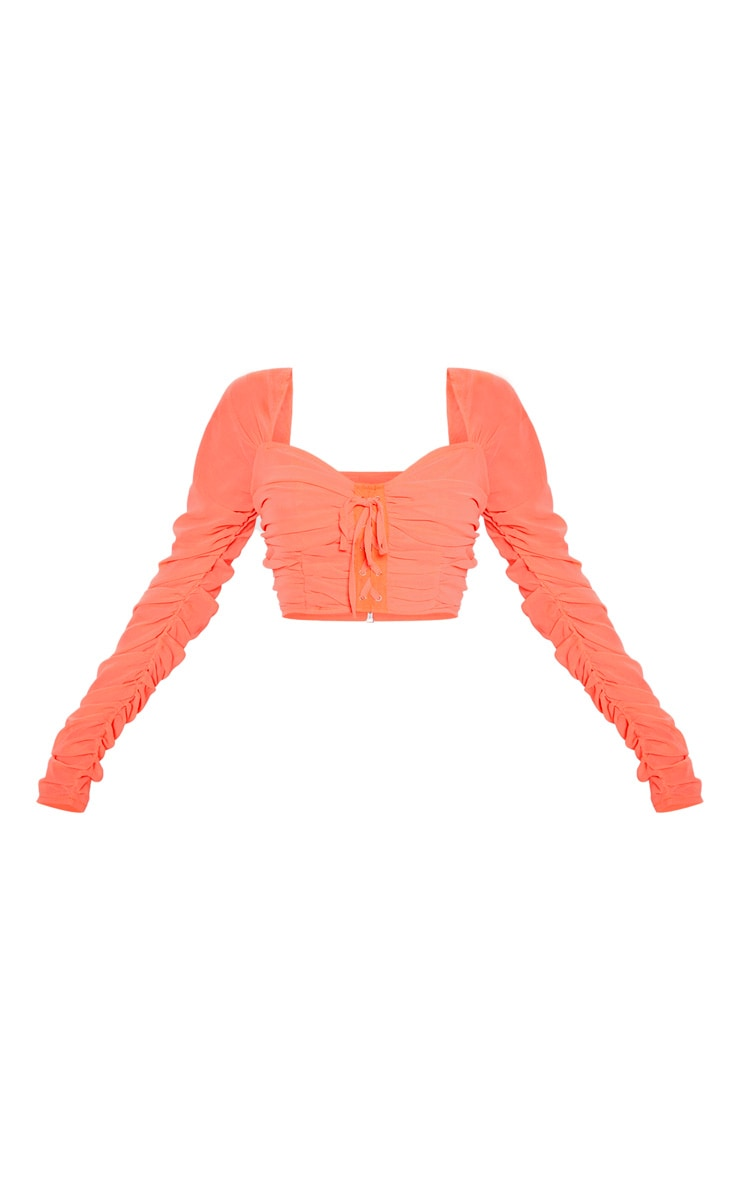 Coral Mesh Ruched Detail Long Sleeve Crop Top 3
