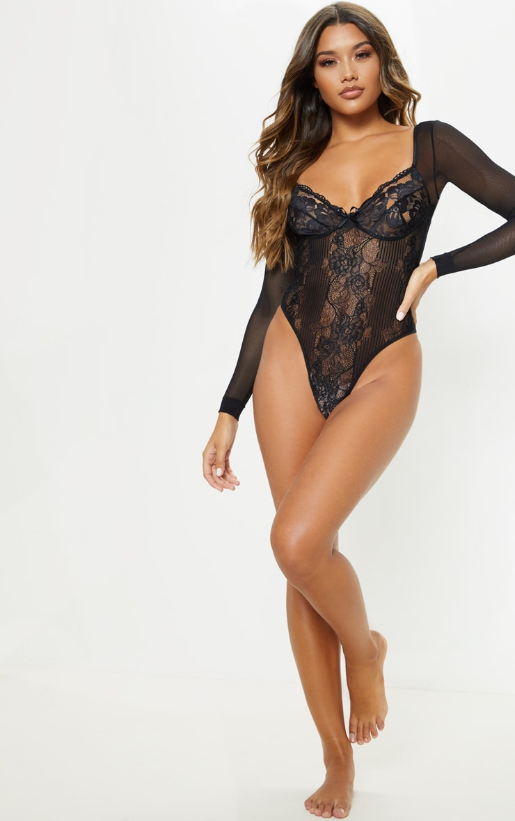 Black Longsleeve Lace Insert High Leg Cupped Body 5
