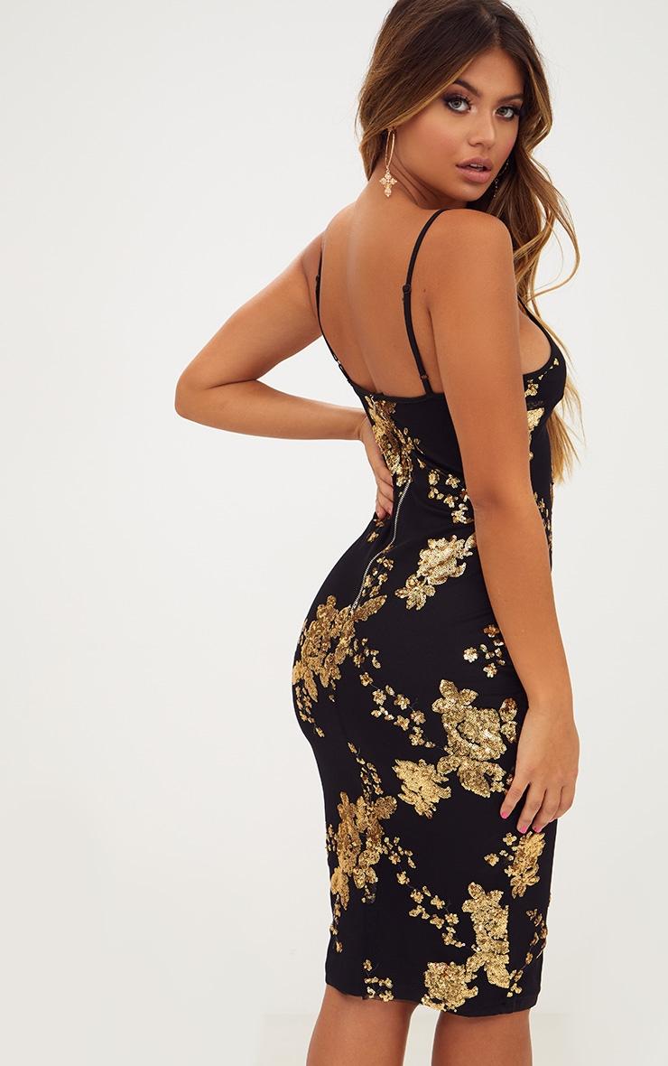 Black Sequin Strappy Plunge Midi Dress 2