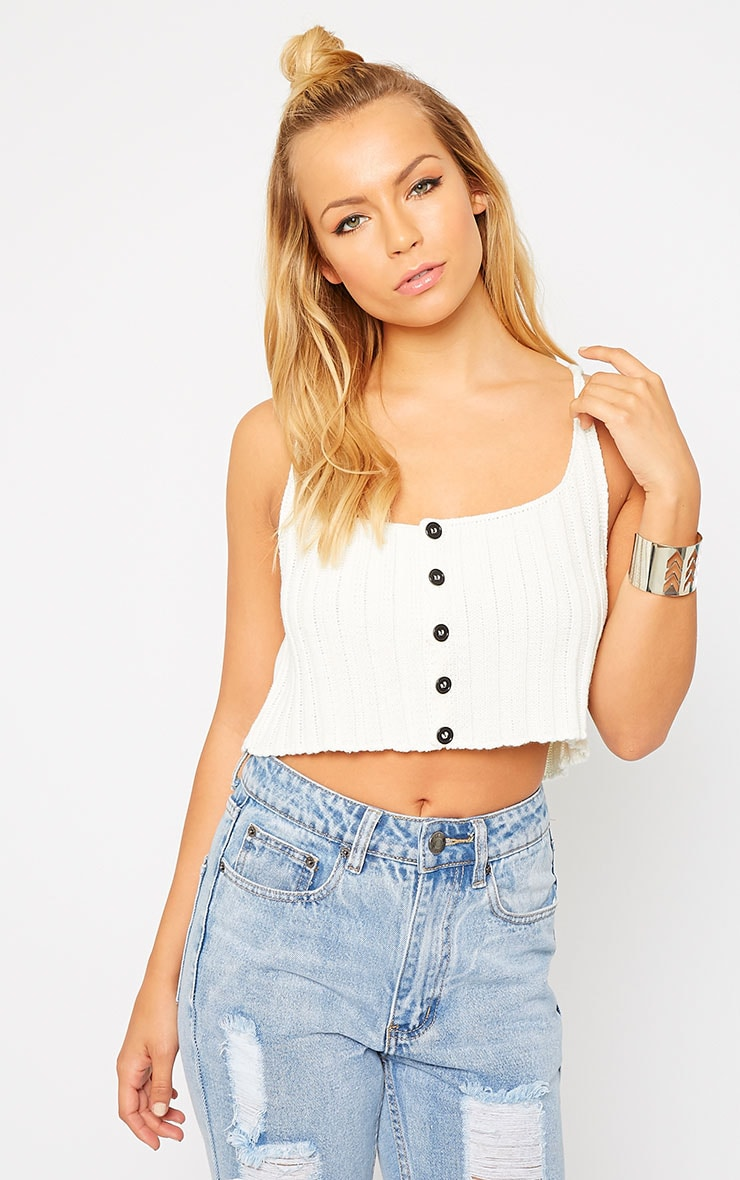 Susy Cream Knitted Cropped Vest Top 1