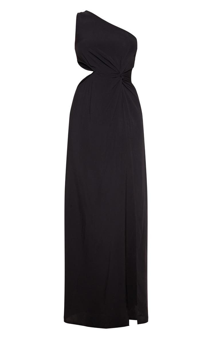 Black One Shoulder Cut Out Knot Detail Split Leg Maxi Dress 3