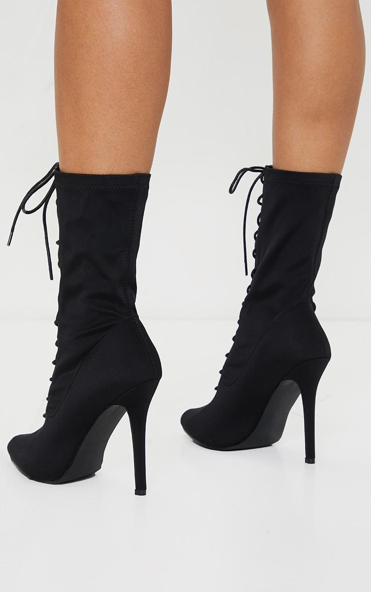 Bottes-chaussettes noires à lacets 4