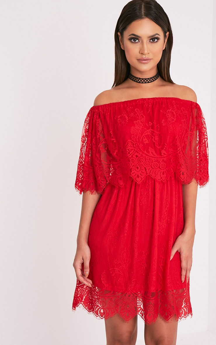 Zoe Red Eyelash Lace Bardot Dress 1