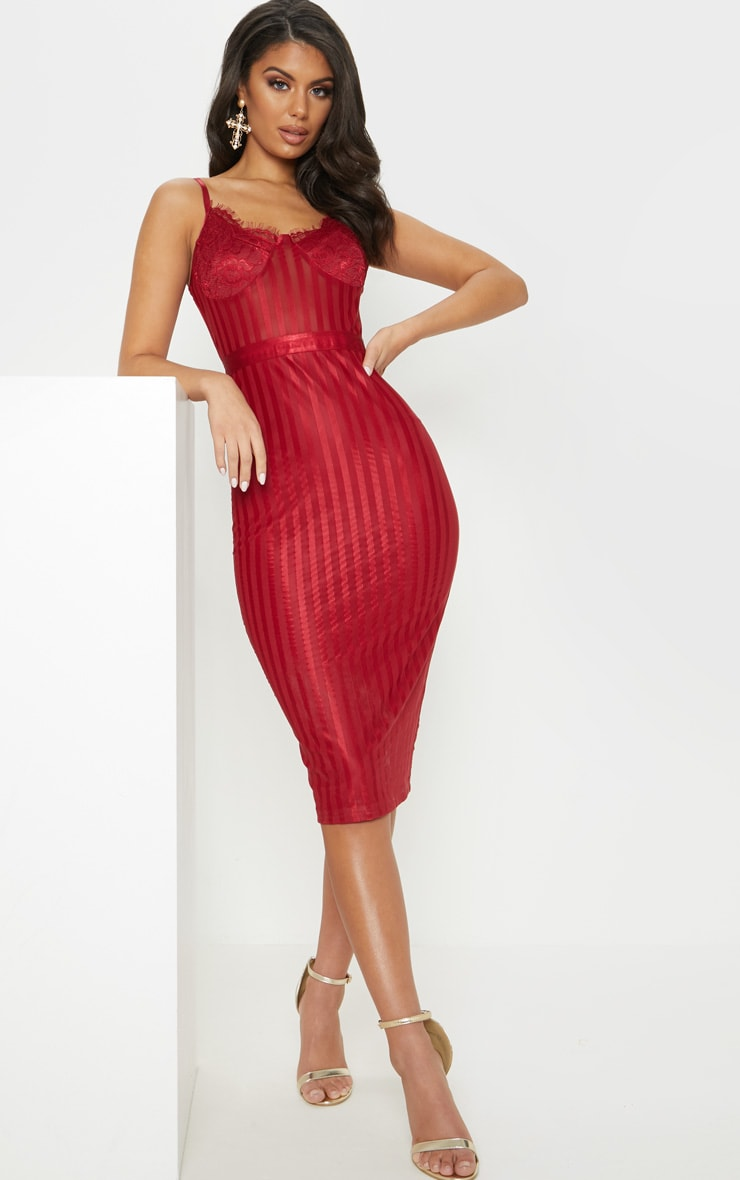 Deep Red Lace Detail Striped Mesh Midi Dress 2
