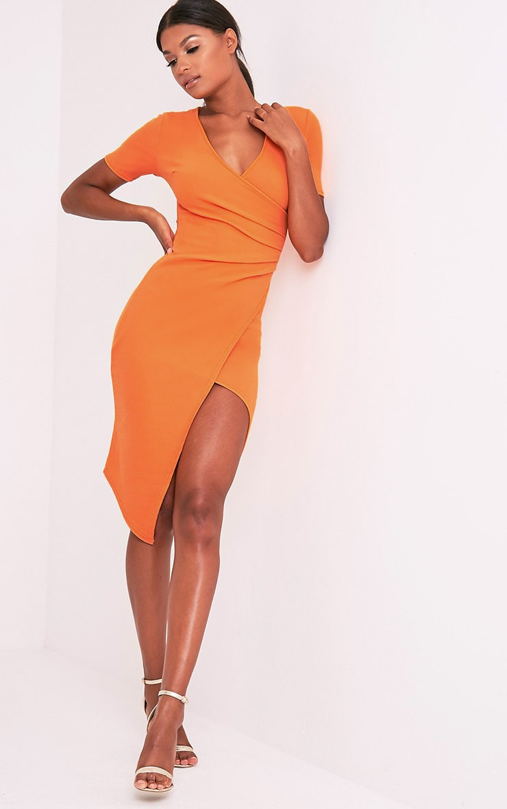 Ivie Orange Short Sleeve Wrap Front Midi Dress 6