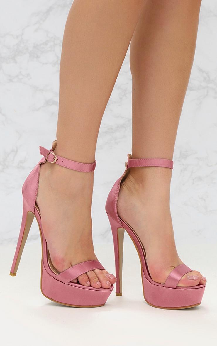 64c780957a9f Pink Satin Single Strap Platform Heels image 1