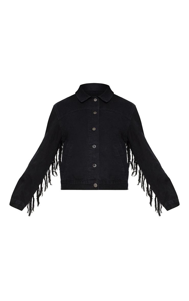 Veste en jean noire à franges dans le dos 2