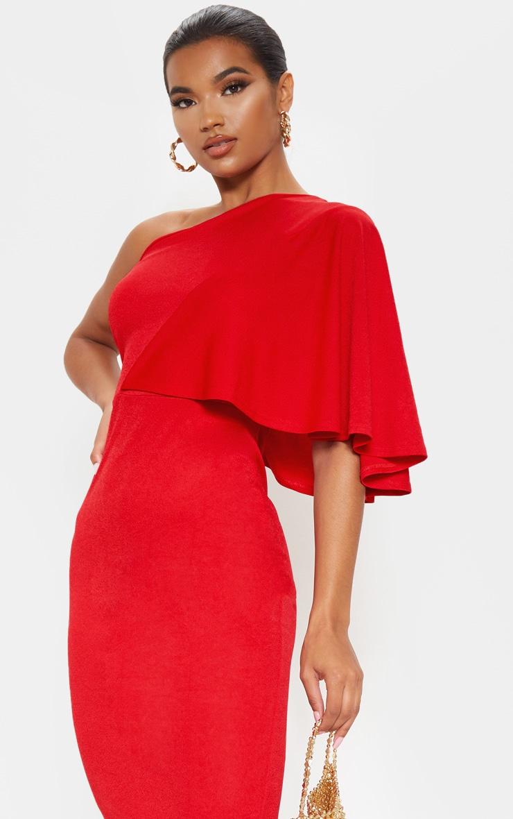 Red One Shoulder Cape Midi Dress 5