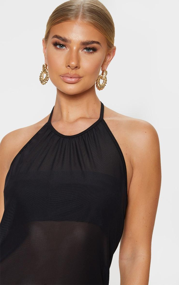 Black Basic Mesh Beach Dress 4