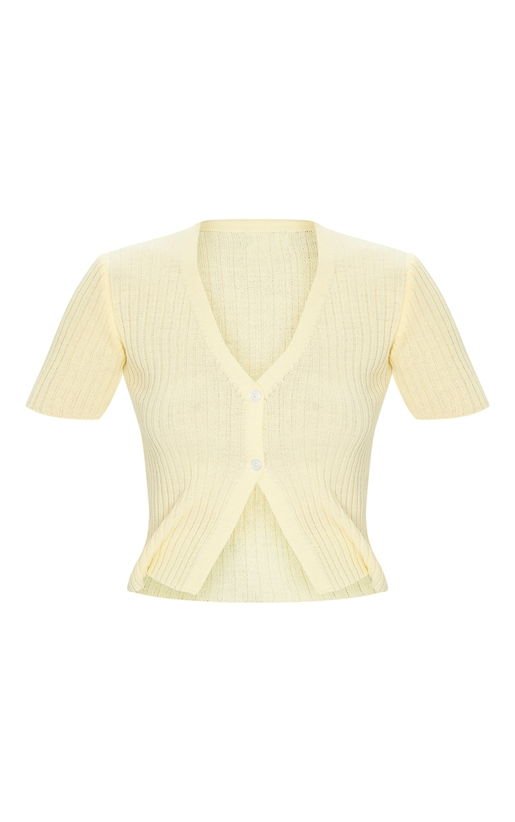Yellow Button Up Short Sleeve Knitted Cardigan 5
