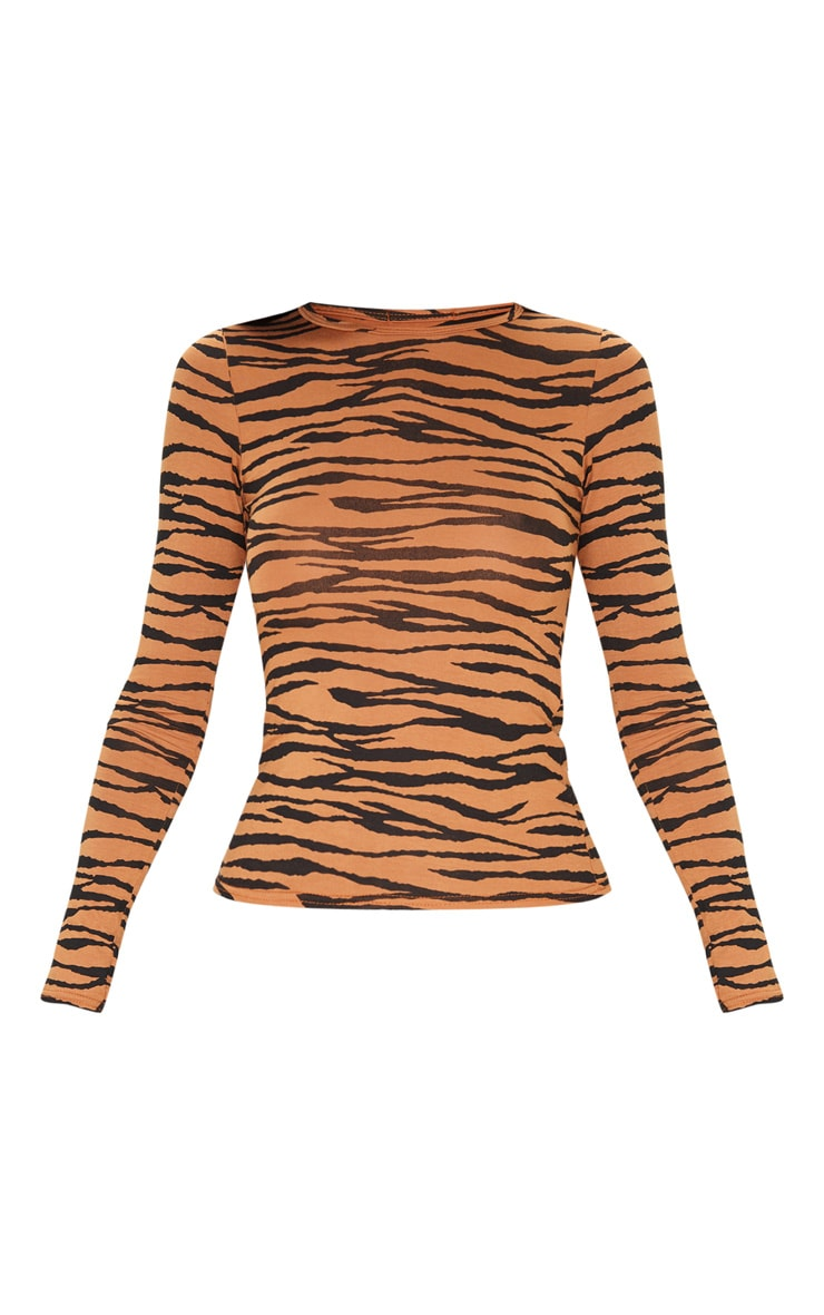 Basic Tan Zebra Long Sleeve Fitted T Shirt 3