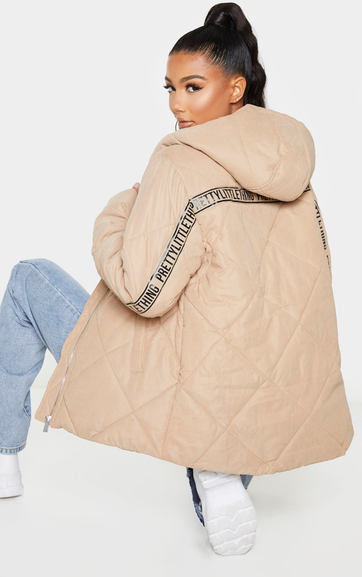 PRETTYLITTLETHING Stone Peach Skin Diamond Quilted Oversized Puffer 1
