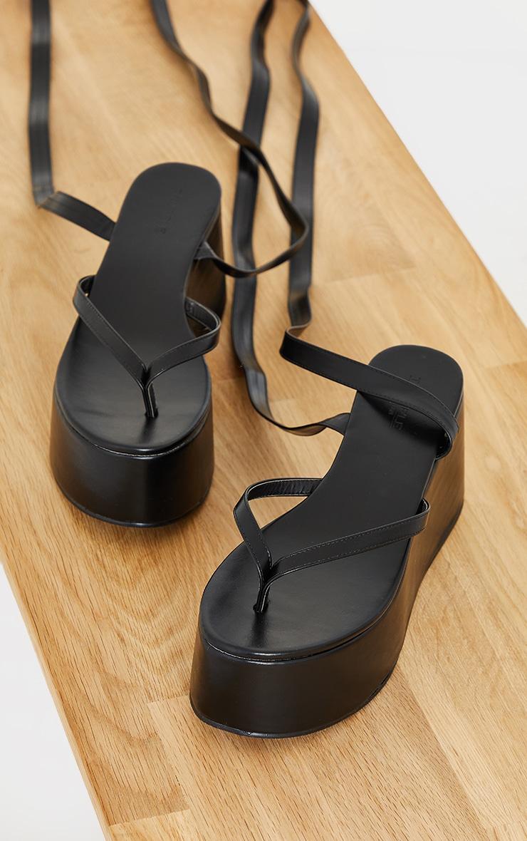 Black Toe Thong Ankle Tie High Flatform Sandals 3