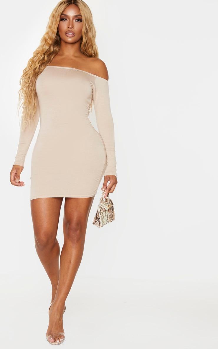 Shape Stone Jersey Bardot Bodycon Dress 3
