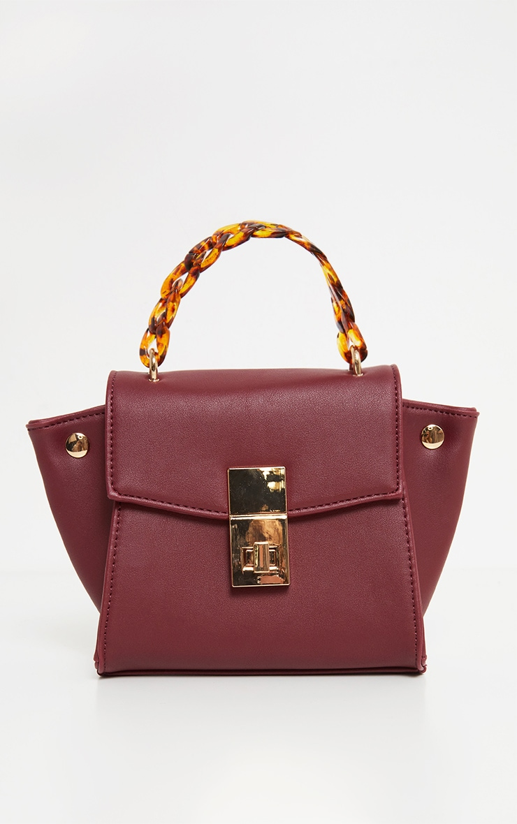 Burgundy Square Mini Bag Tortoiseshell Chain Handle 2