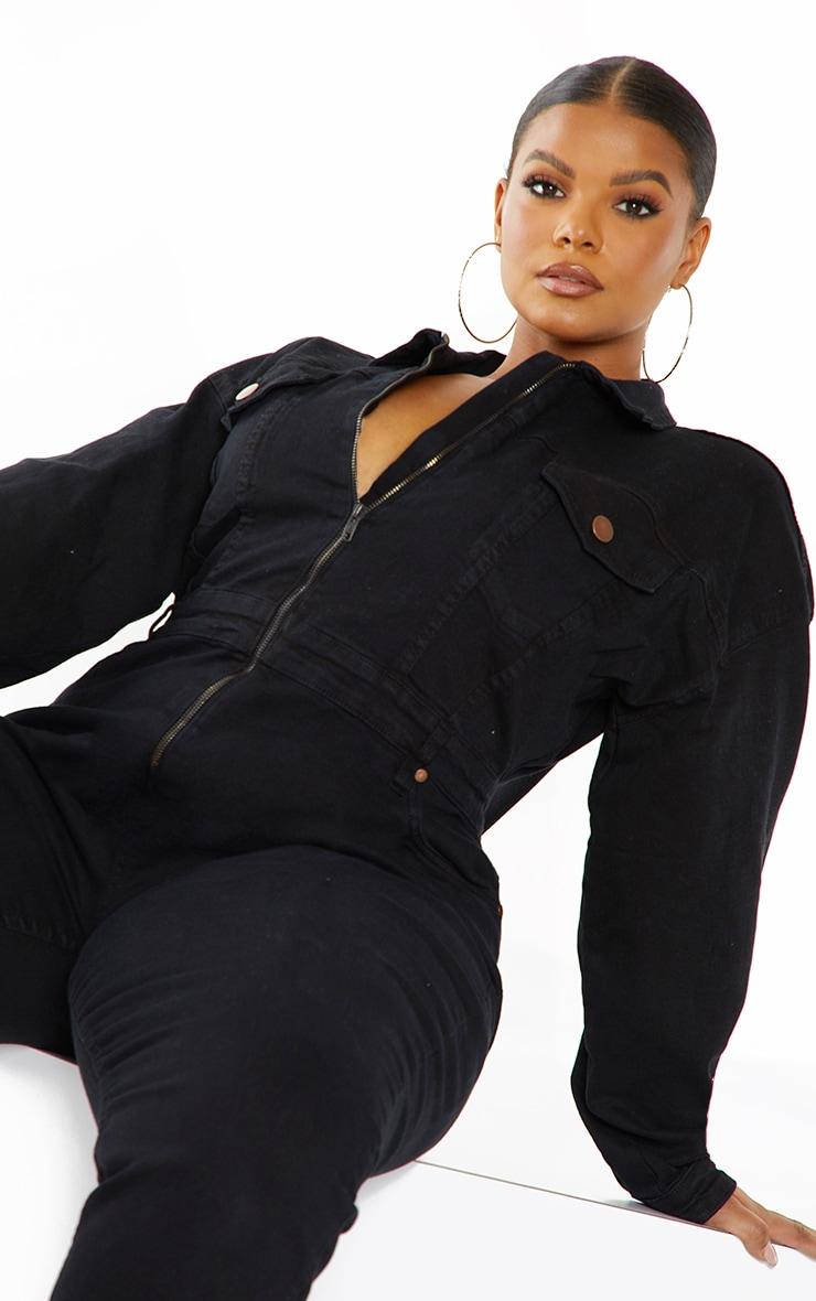 Plus Black Denim Zip Front Jumpsuit 4