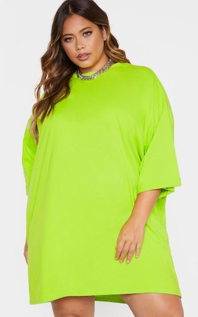 Plus Neon Green I See You Oversized Slogan T-Shirt Dress