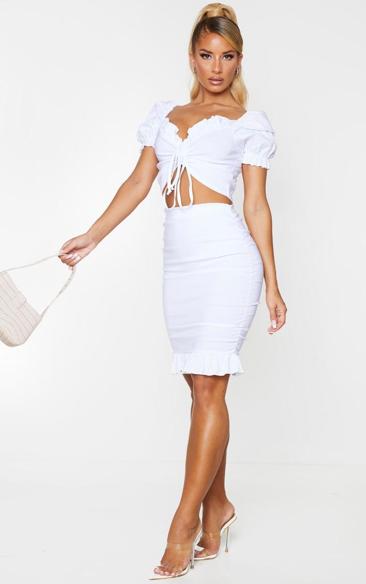 White Woven Stretch Ruched Side Frill Hem Mini Skirt 1