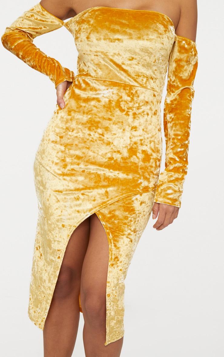 Mustard Velvet Bardot Long Sleeve Wrap Detail Midi Dress 5