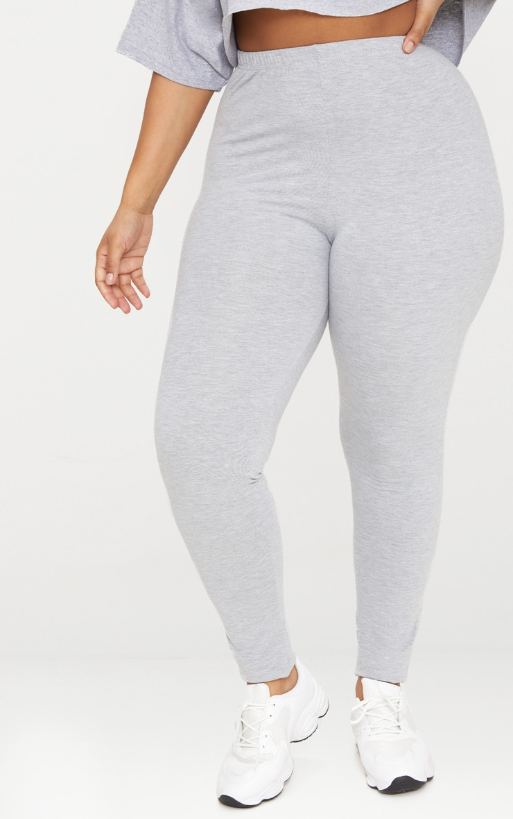 Plus legging en jersey gris 2