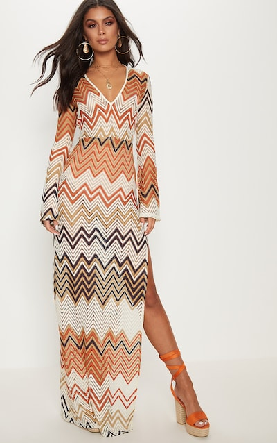 872343706d835 Burnt Orange Chevron Print Lace Maxi Dress