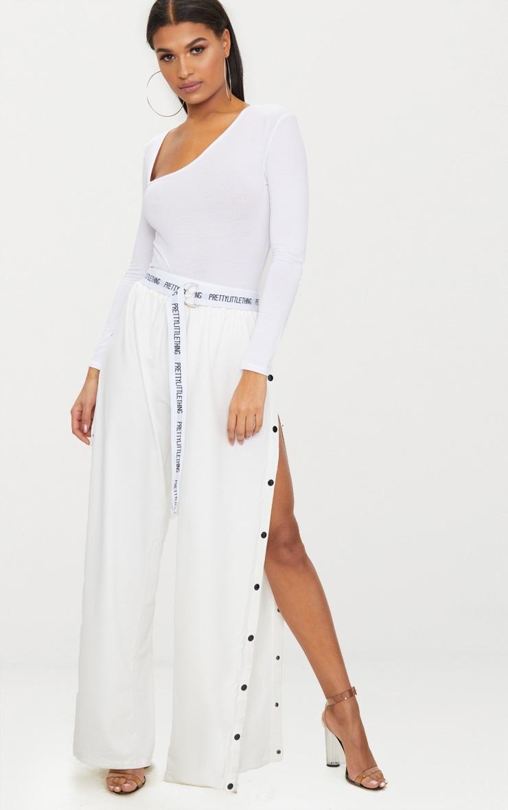 White Asymmetrical Jersey Thong  Bodysuit 5