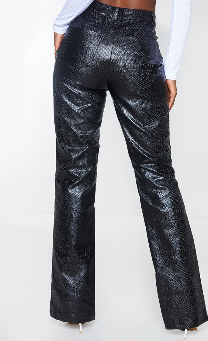 PREMIUM Black Faux Leather Croc Split Hem Skinny Trousers 3