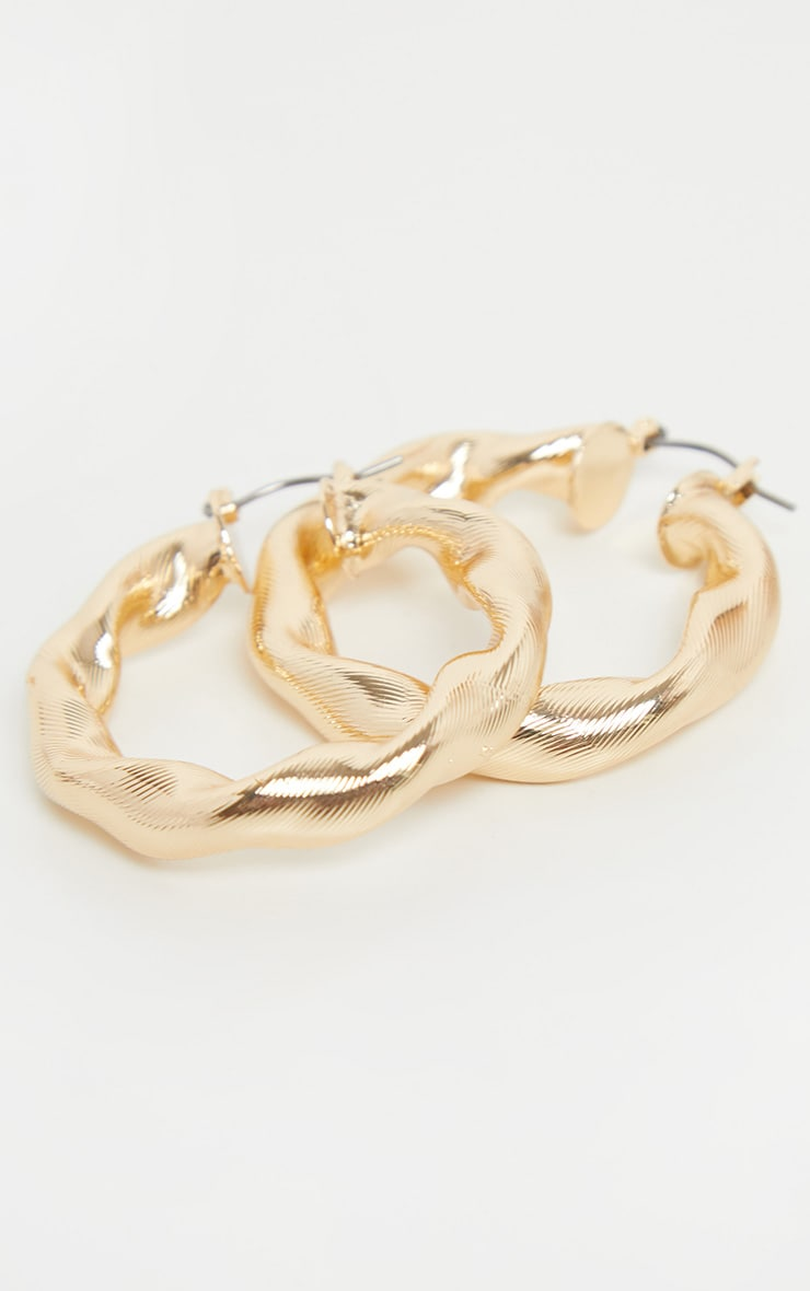 Gold Chunky Twist Hoops 3