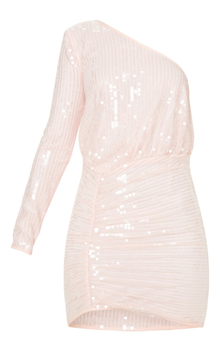 Baby Pink Sequin One Shoulder Bodycon Dress  3