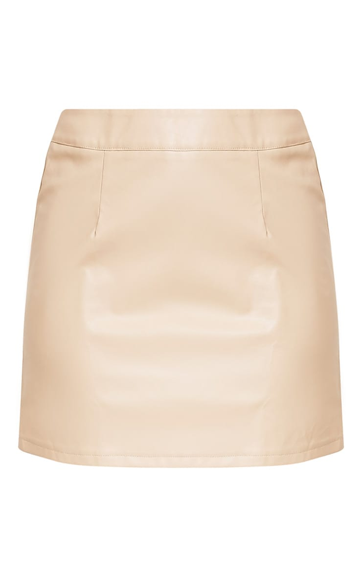 Rose Stone Faux Leather A-Line Mini Skirt 3