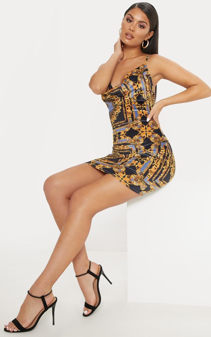 Multi Velvet Chain Print Cowl Neck Bodycon Dress 4