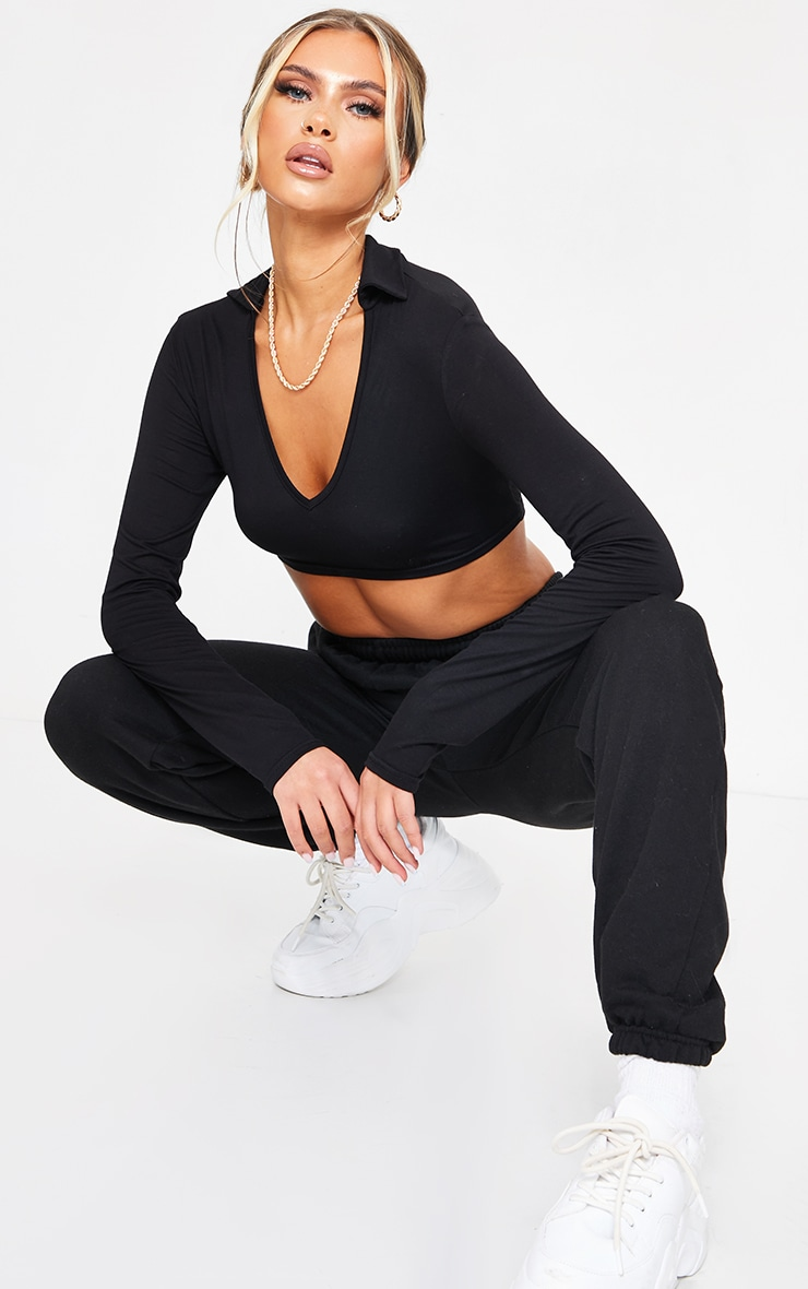 Black Jersey Long Sleeve Collar Cut Out Tie Back Crop Top 3