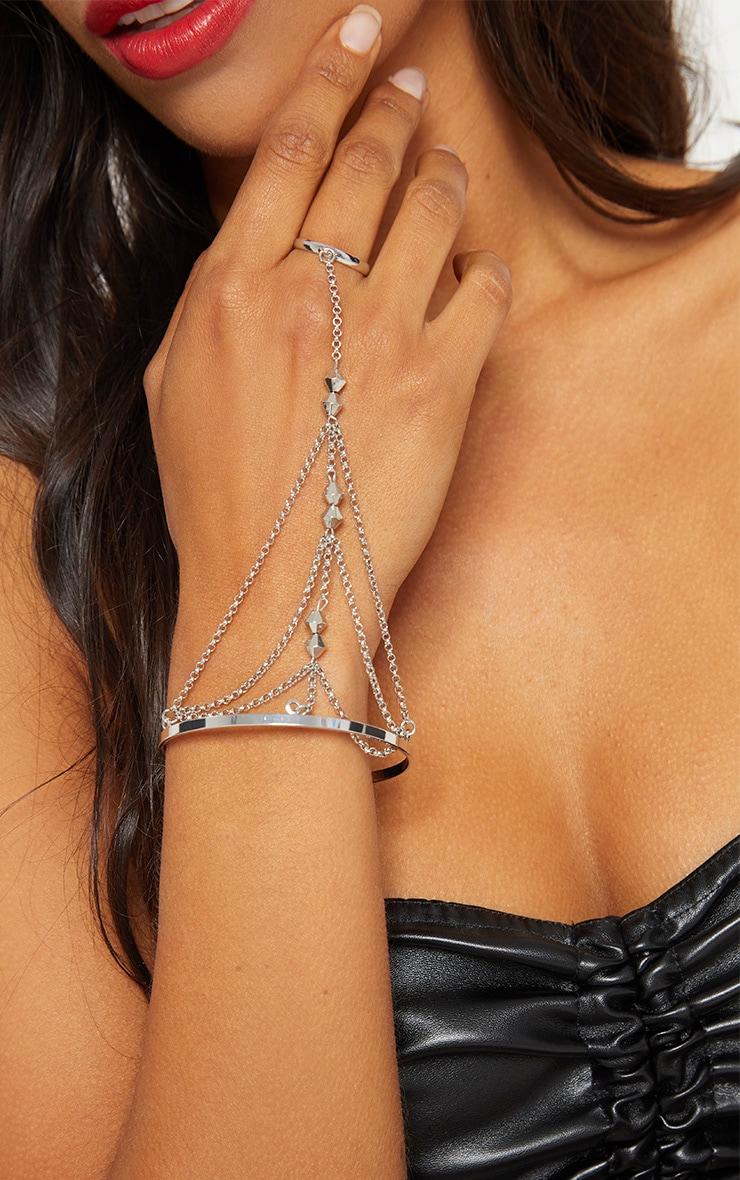Silver Bead Hand Cuff Chain 1