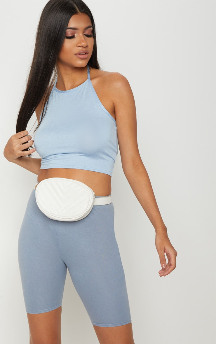 Basic Baby Blue Halterneck Crop Top 1