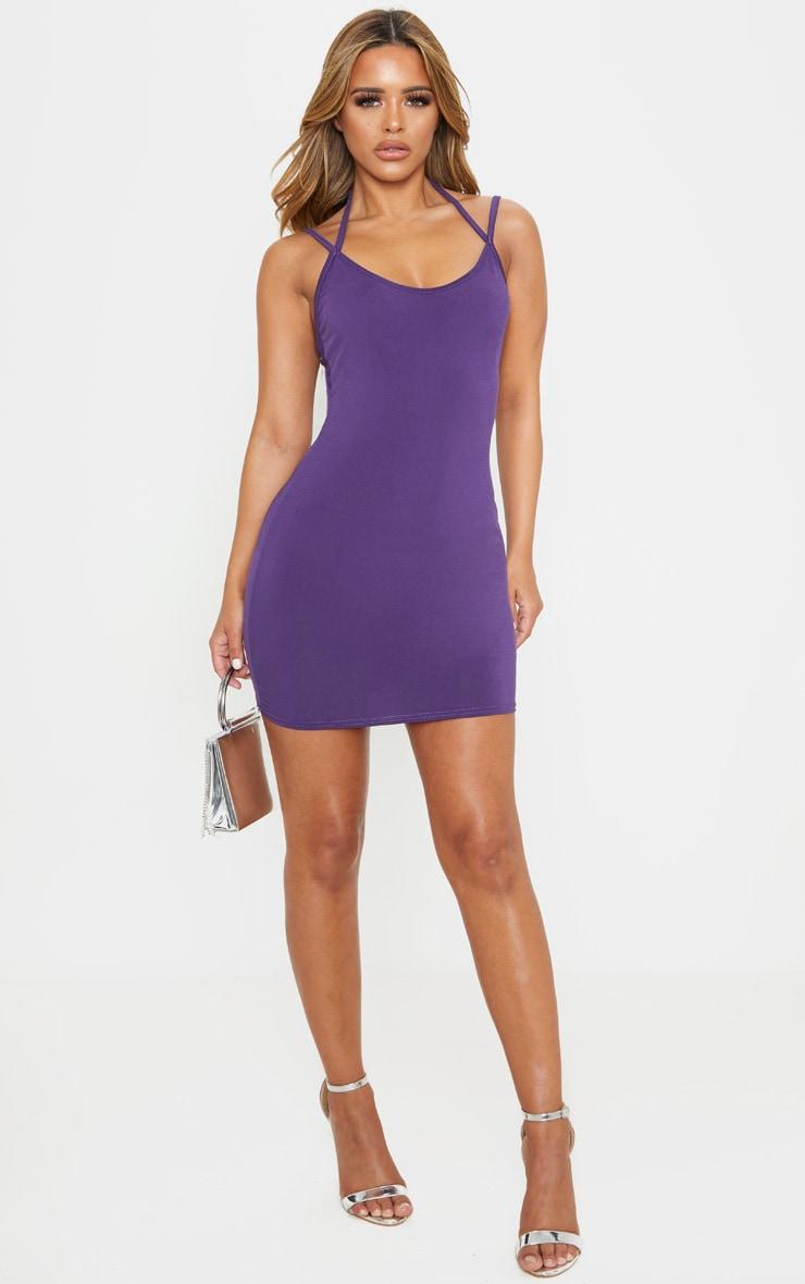 Petite Purple Slinky Strappy Bodycon Dress 4