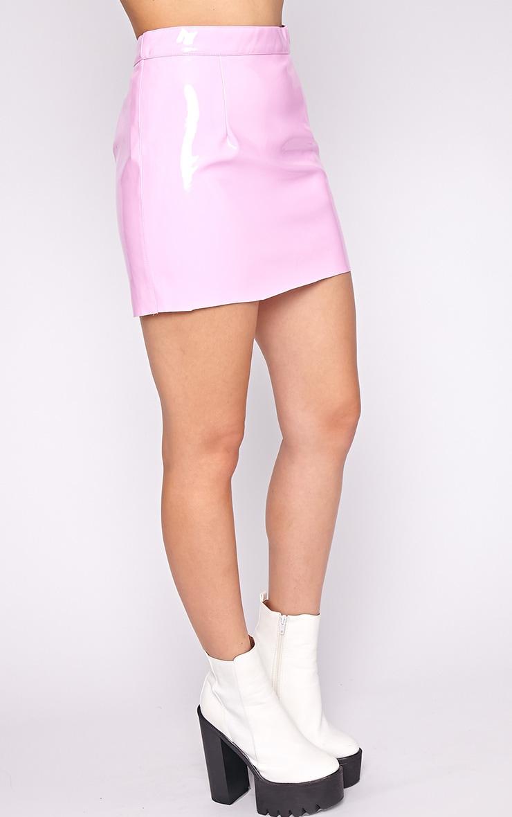 Daphne Pink PVC Mini Skirt  3