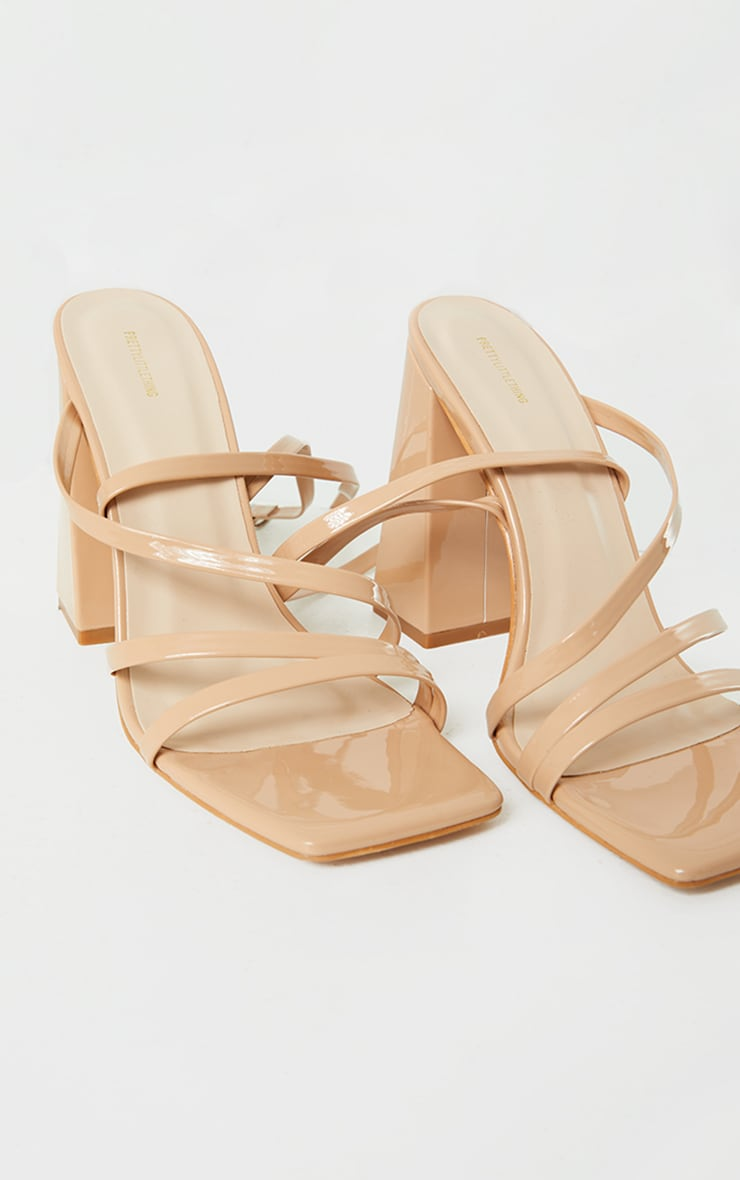 Nude Patent PU Square Toe Strappy High Block Heeled Sandals 3