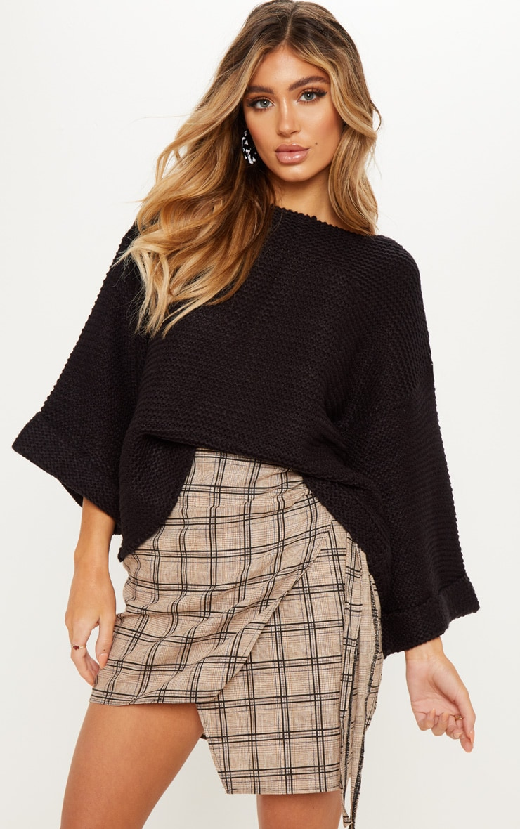 Black Boxy Knitted Jumper