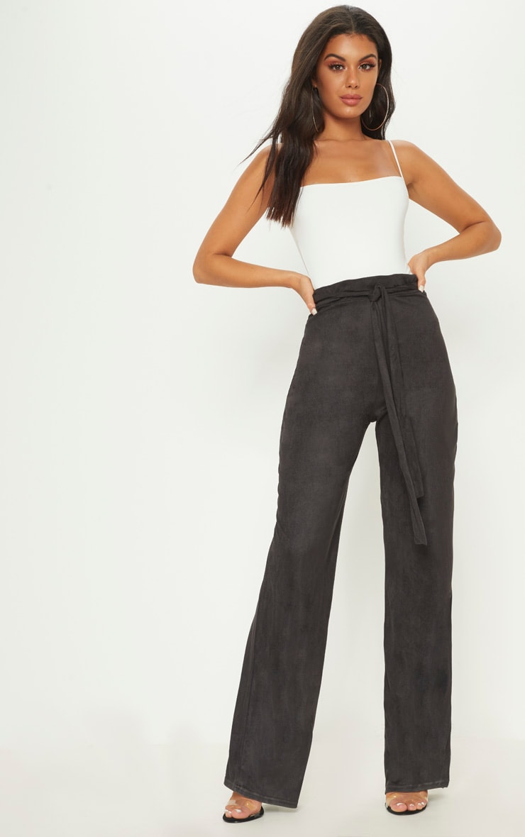 Black Faux Suede Tie Waist Wide Leg Trouser 1