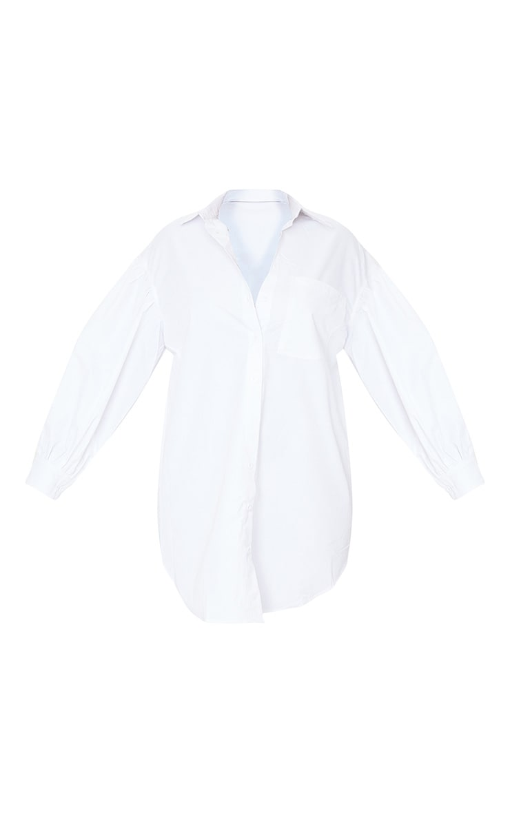 White Pleated Puff Sleeve Shirt Dress 5