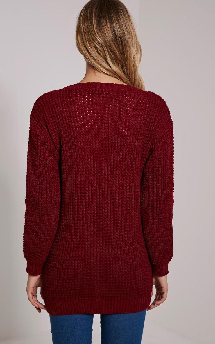 Alessandra Burgundy Oversized Knitted Jumper 2