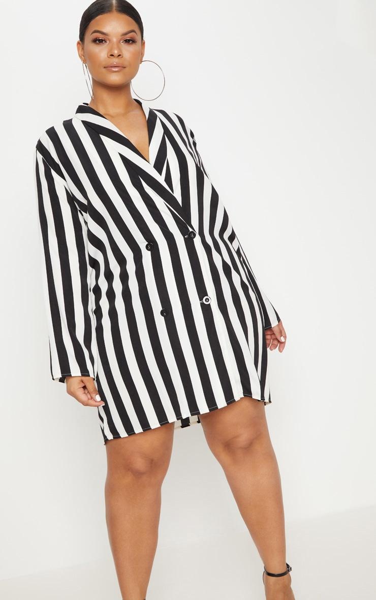 Plus  Black Oversized Striped Blazer Dress 1