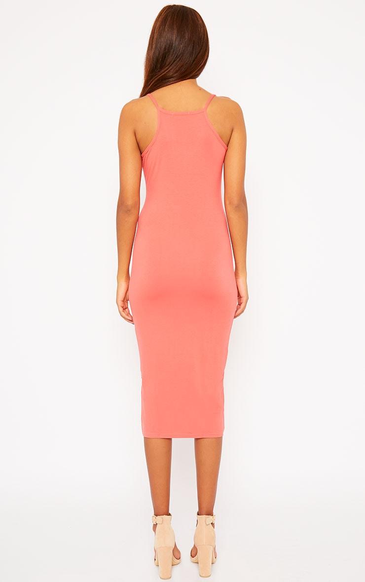 Basic Coral Midi Dress 2