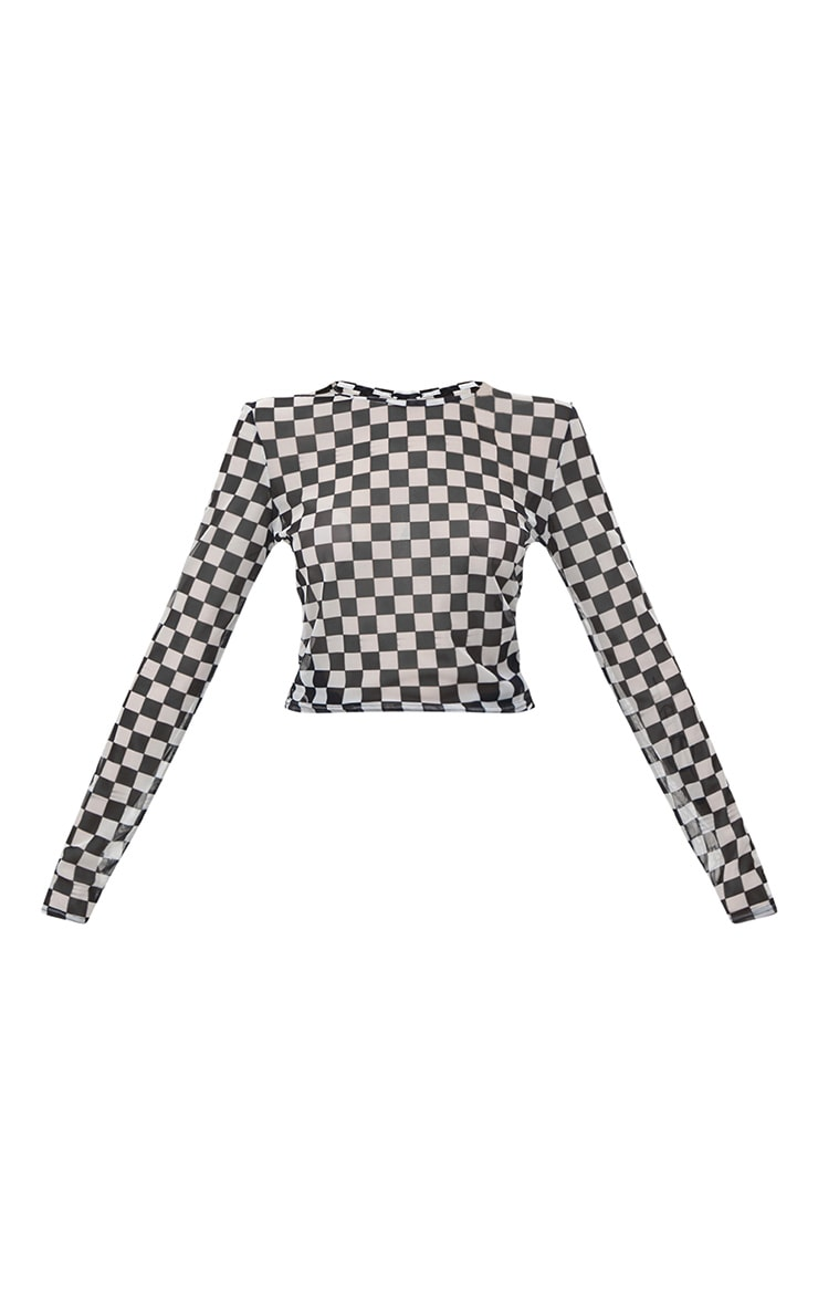 Monochrome Motorcross Check Mesh Longsleeve Crop Top 3