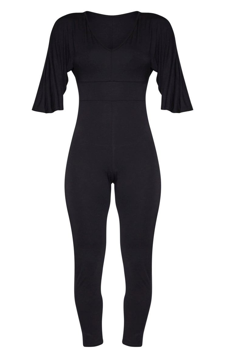 Black V Neck Short Sleeve Jumpsuit 3