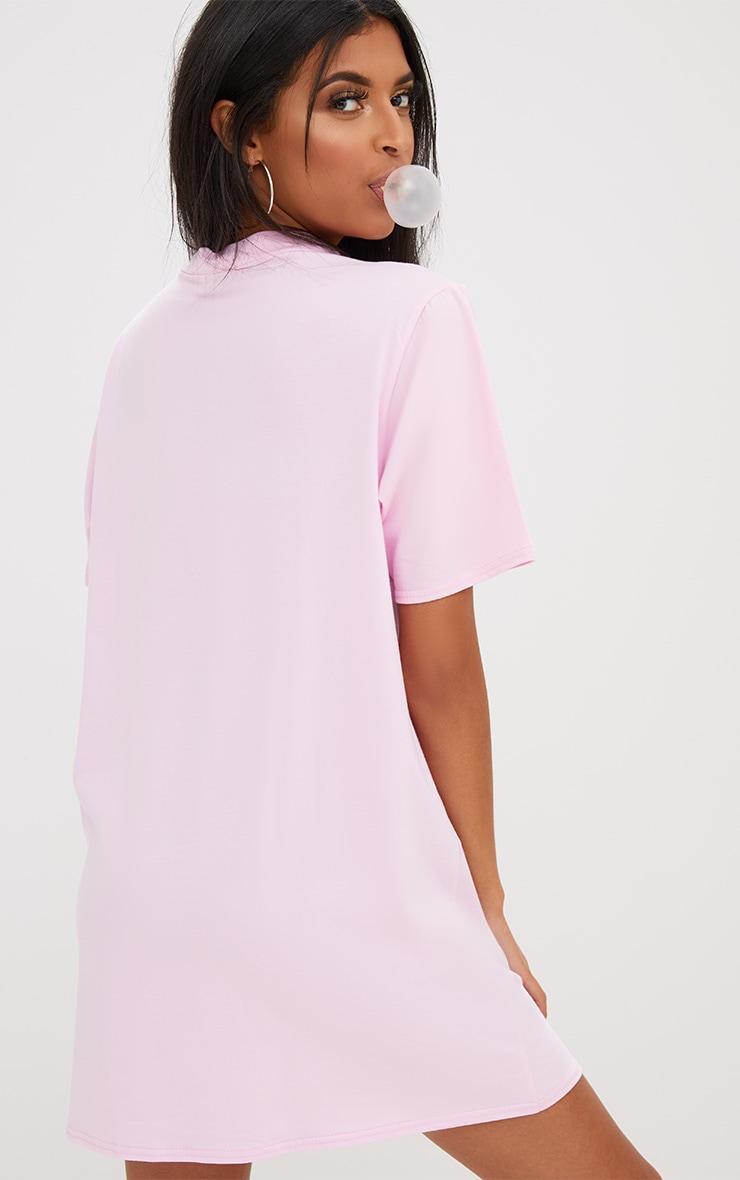 Pink Cut Out Puff Print T Shirt Dress 2