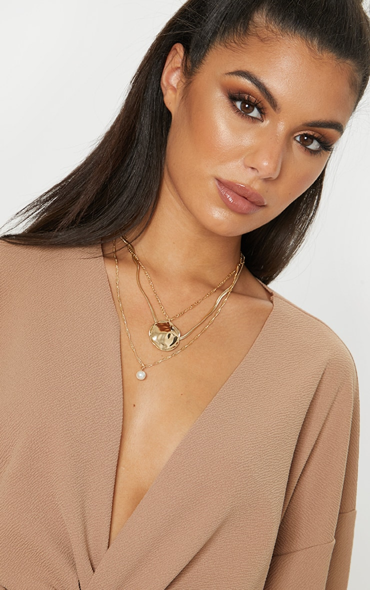 Gold Textured Disc And Pearl Multi Layer Necklace 3