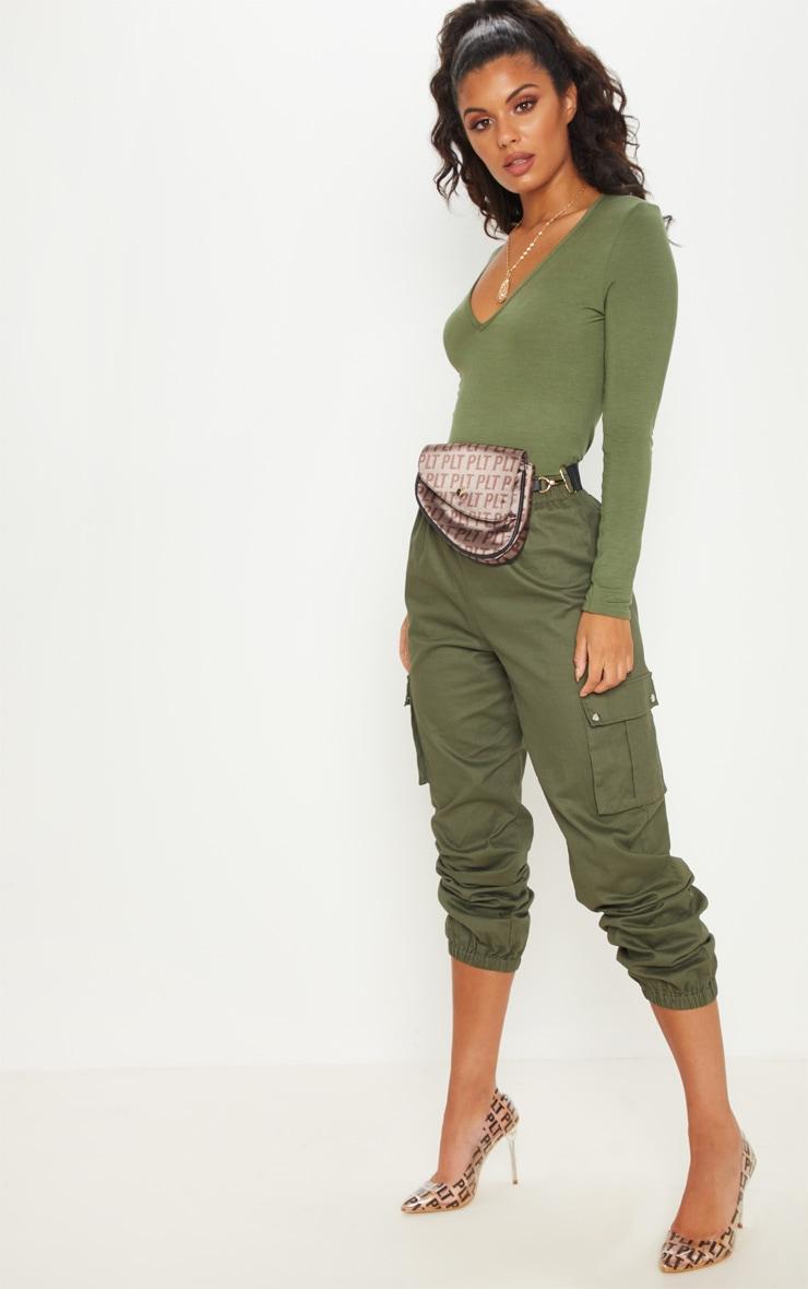 Basic Khaki V Neck Long Sleeve Bodysuit 5